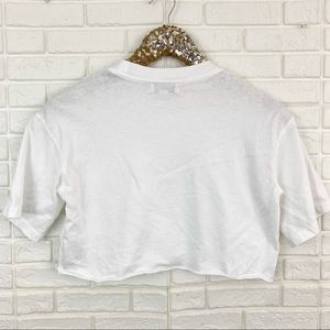 Topshop Tops - Topshop wide cropped solid white tee t-shirt crop